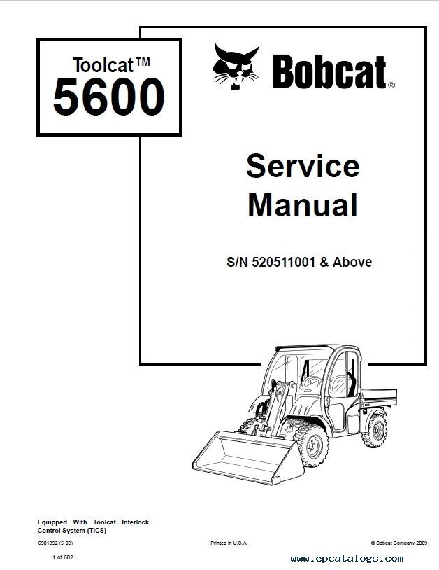 bobcat toolcat 5600 service manual