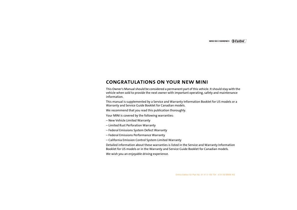 2002 mini cooper service manual pdf