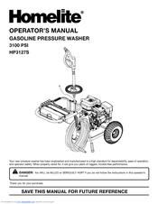 homelite 3100 psi pressure washer manual