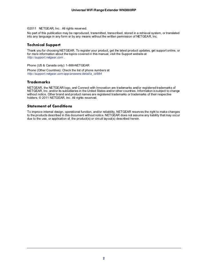 netgear universal wifi range extender wn3000rp manual