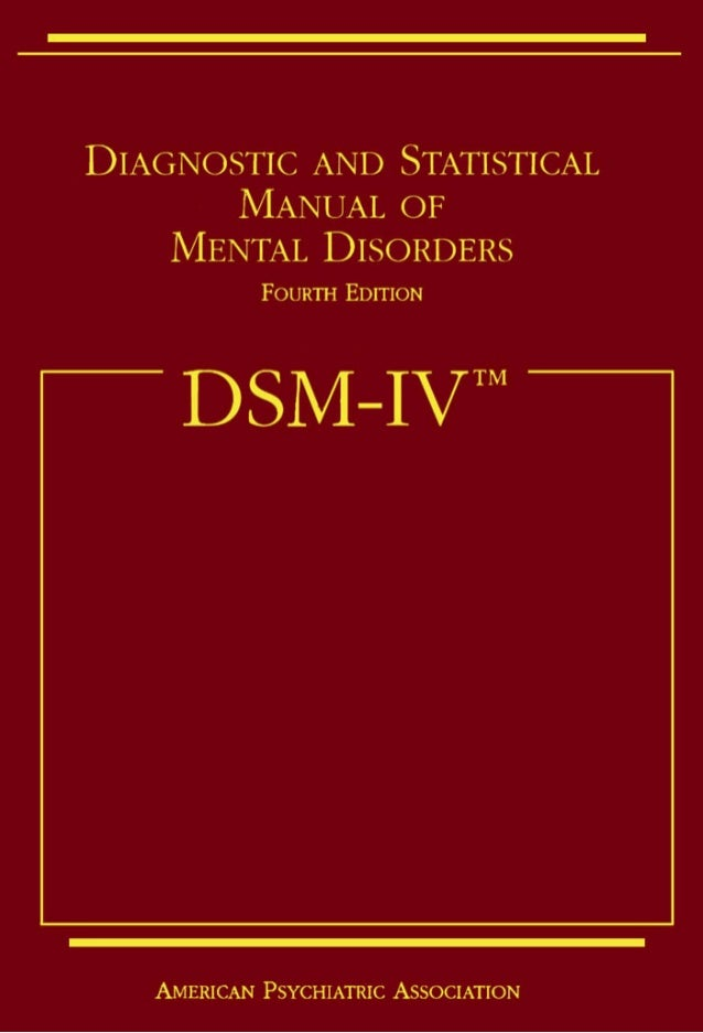 diagnostic and statistical manual fourth edition