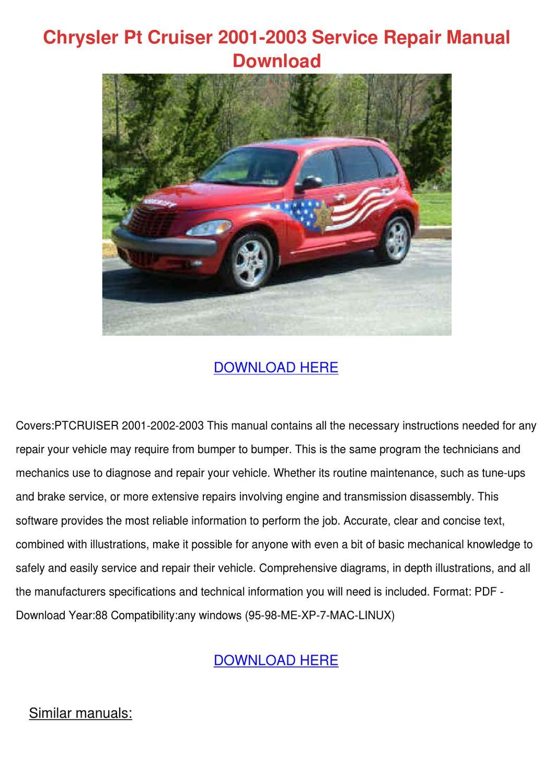 2002 pt cruiser owners manual pdf