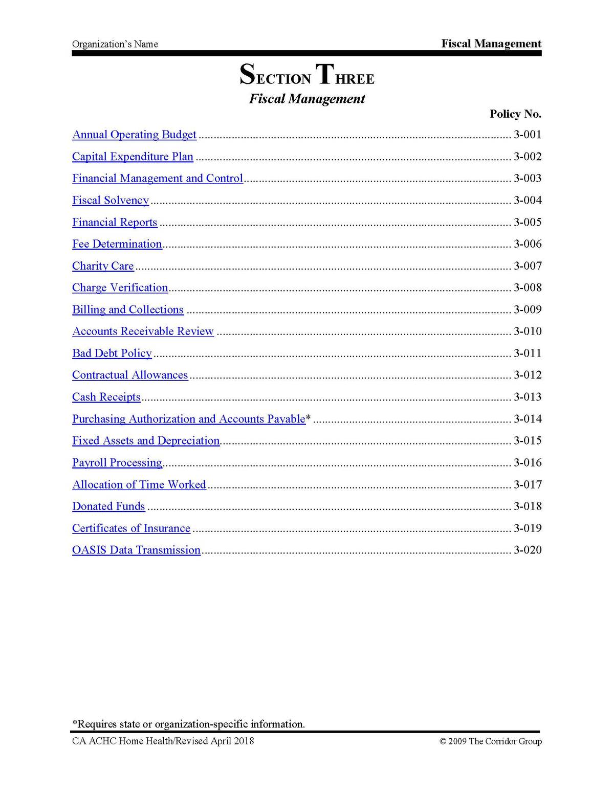 policy manual table of contents