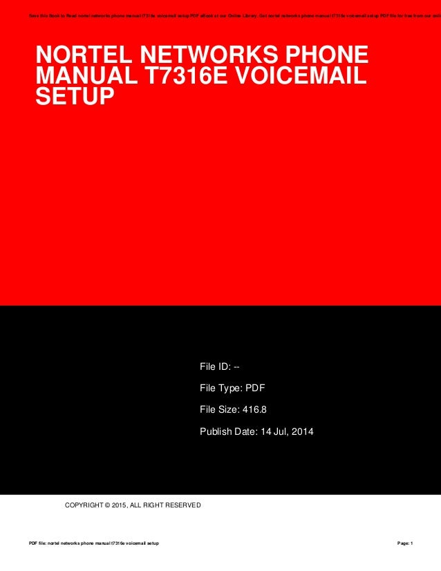 nortel networks phone manual t7316e voicemail setup