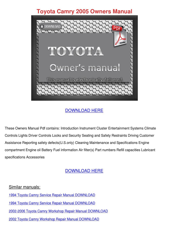 1991 toyota camry repair manual