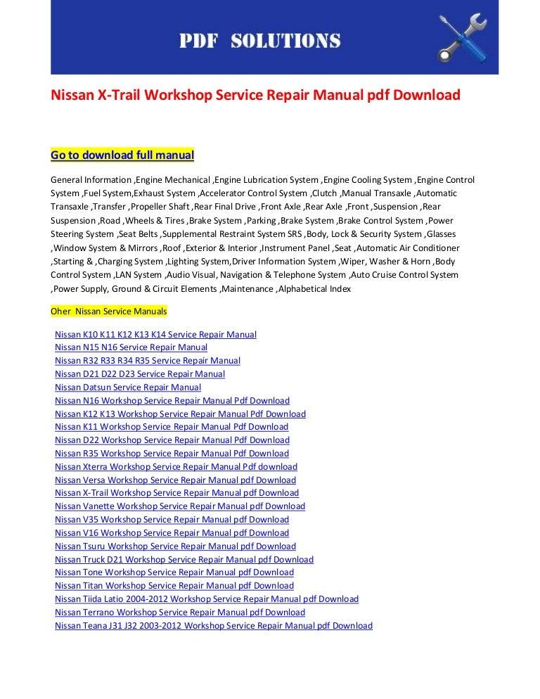 nissan x trail workshop manual free pdf