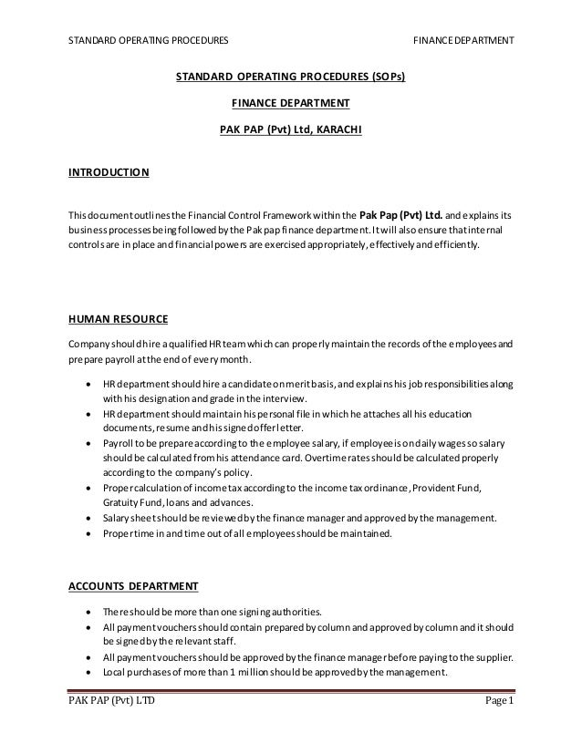 accounting procedures manual template free