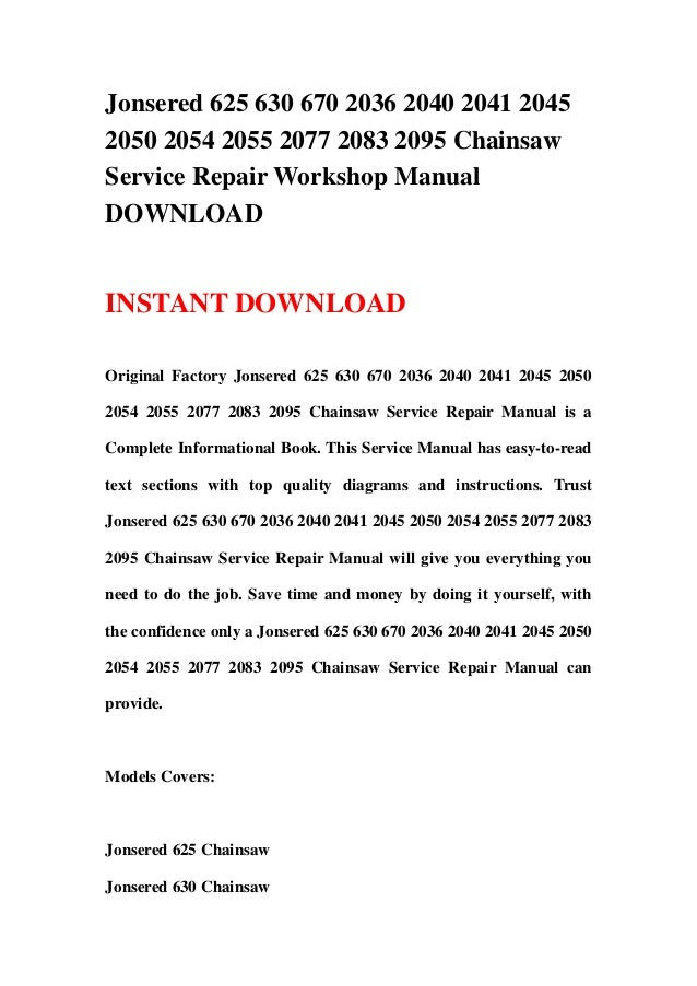 jonsered 2036 turbo chainsaw manual