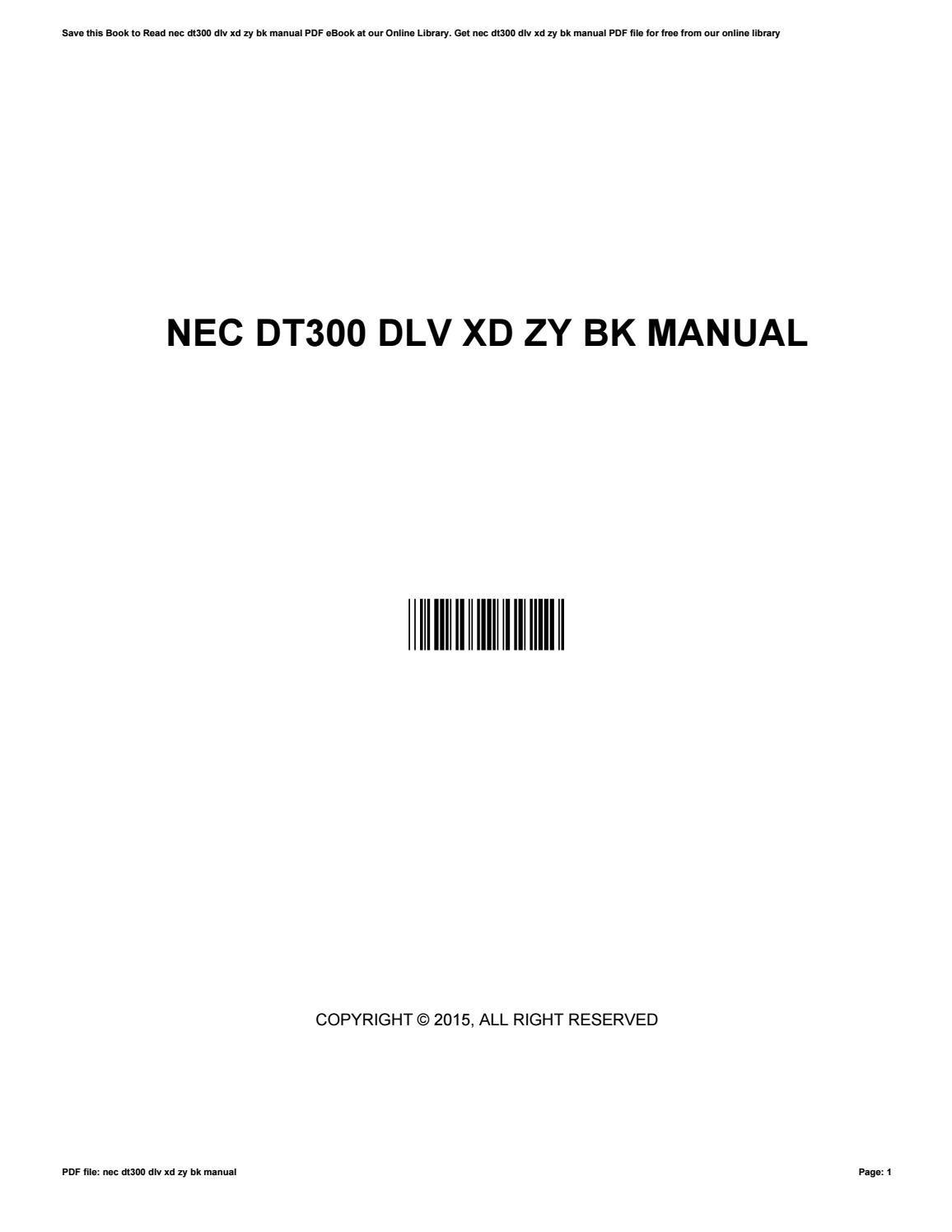 nec dlv xd zy bk manual