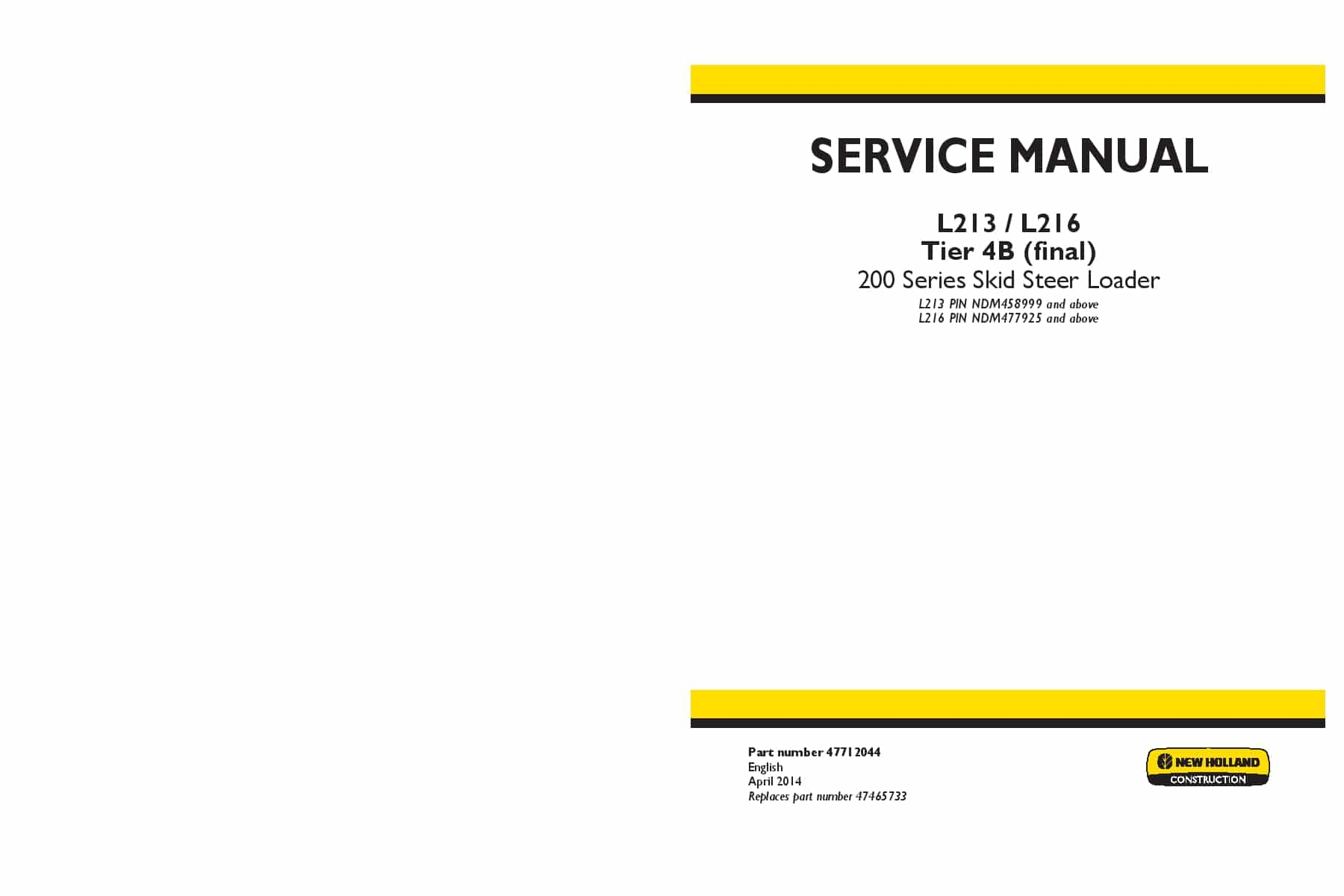 new holland skid steer repair manual