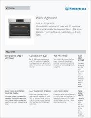 westinghouse oven wve916sa user manual
